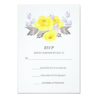 Watercolor Gray Yellow Purple Roses Vertical RSVP 9 Cm X 13 Cm Invitation Card