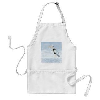 Watercolor Great Blue Heron Bird Standard Apron
