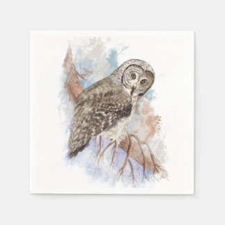 Watercolor Great Gray Owl Bird Nature Art Disposable Serviette
