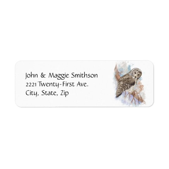 Watercolor Great Grey Owl Bird Nature Art Return Address Label
