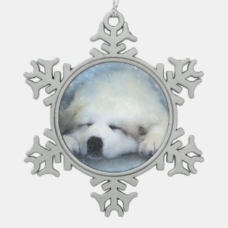 Watercolor Great Pyrenees Sleeping Pup Snowflake Pewter Christmas Ornament