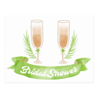 Watercolor Green Bridal Shower Champagne  Glasses Postcard