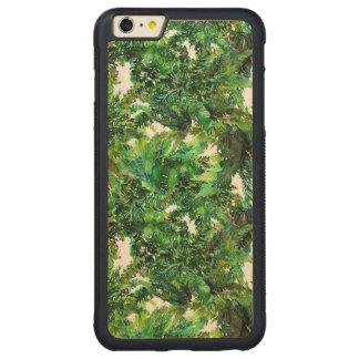 Watercolor green fern forest fall pattern carved maple iPhone 6 plus bumper case