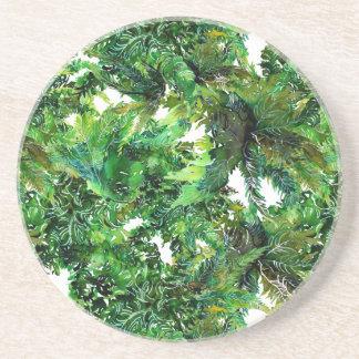 Watercolor green fern forest fall pattern coaster