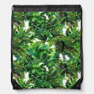 Watercolor green fern forest fall pattern drawstring bag
