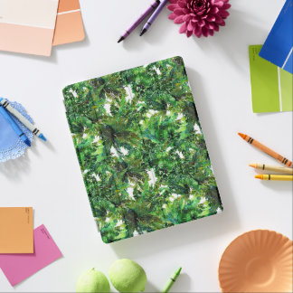 Watercolor green fern forest fall pattern iPad cover