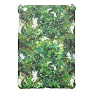 Watercolor green fern forest fall pattern iPad mini cover
