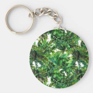 Watercolor green fern forest fall pattern key ring