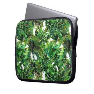 Watercolor green fern forest fall pattern laptop sleeve