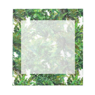 Watercolor green fern forest fall pattern notepad