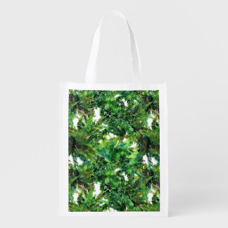 Watercolor green fern forest fall pattern reusable grocery bag