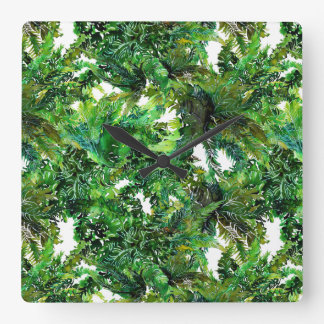 Watercolor green fern forest fall pattern square wall clock