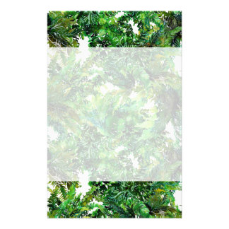 Watercolor green fern forest fall pattern stationery