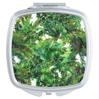 Watercolor green fern forest fall pattern travel mirrors
