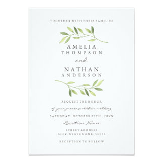 Watercolor Green Leaf Wedding Invitation