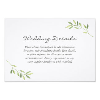 Watercolor Green Leaf Wedding Reception Details Card