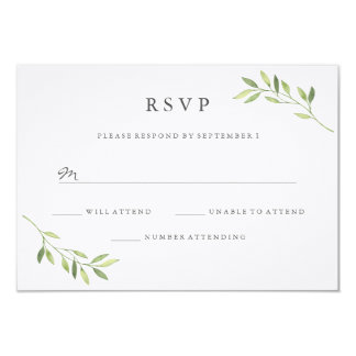 Watercolor Green Leaf Wedding RSVP Card