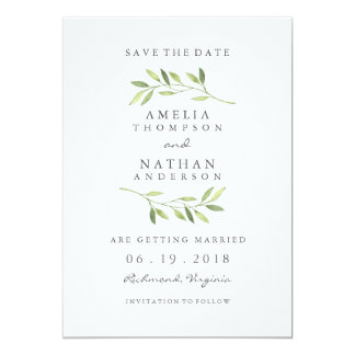 Watercolor Green Leaf Wedding Save The Date Card
