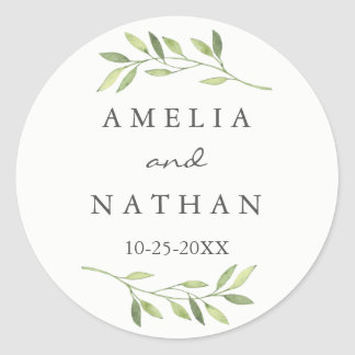 Watercolor Green Leaf Wedding Sticker