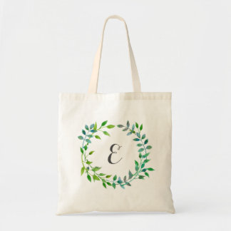 Watercolor Green Leaf Wreath | Monogram Tote Bag