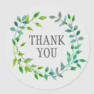 Watercolor Green Leaf Wreath | Thank You Classic Round Sticker