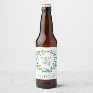 Watercolor Green Leaf Wreath | Wedding Beer Bottle Label