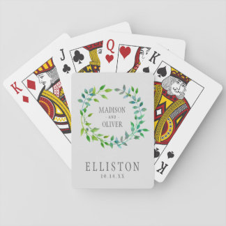 Watercolor Green Leaf Wreath | Wedding Playing Cards