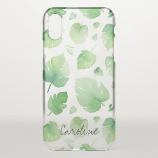 Watercolor Green Leaves. Add Name or Monogram. iPhone X Case