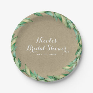 Watercolor Green Leaves Rustic Kraft Wedding Paper Plate