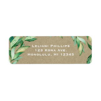 Watercolor Green Leaves Rustic Kraft Wedding Return Address Label