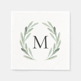 Watercolor Green Olive Branch Wreath Monogram Disposable Serviette