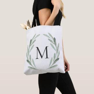 Watercolor Green Olive Branch Wreath Monogram Tote Bag