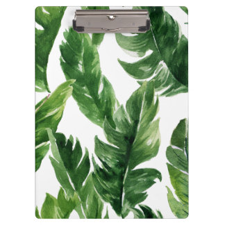 Watercolor Green Tropical Leaves Pattern Clipboard