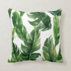 Watercolor Green Tropical Leaves Pattern Cushion