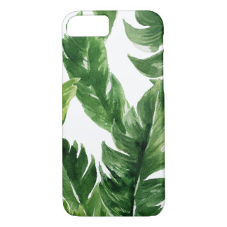 Watercolor Green Tropical Leaves Pattern iPhone 7 Case