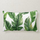 Watercolor Green Tropical Leaves Pattern Lumbar Cushion