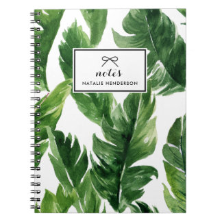 Watercolor Green Tropical Leaves Pattern Notebooks