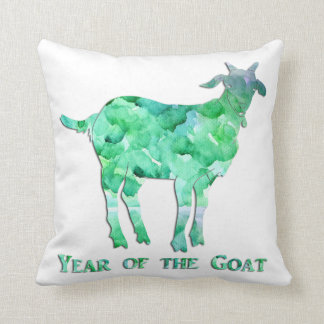 Watercolor Green Year of the Goat Cushion