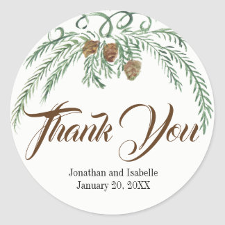 Watercolor Greenery and Pine Cones Thank You Classic Round Sticker