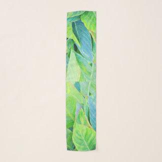 Watercolor Greenery Jungle Foliage Scarf