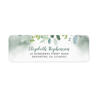 Watercolor Greenery Wedding Return Address Label