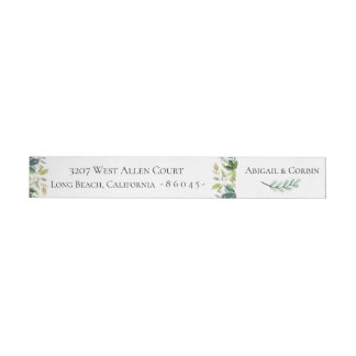 Watercolor Greenery Wrap Around Label
