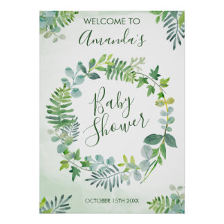 Watercolor Greenery Wreath Baby Shower Poster