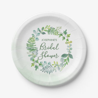 Watercolor Greenery Wreath Bridal Shower Paper Plate