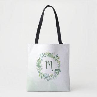 Watercolor Greenery Wreath Monogram Tote Bag