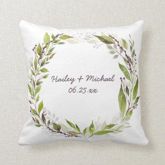 Watercolor Greenery Wreath Purple Berries Vines Cushion