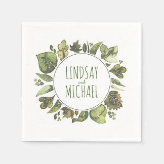 Watercolor Greenery Wreath Wedding Disposable Serviette