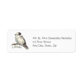 Watercolor Grey,Gray Jay Canada National Bird Return Address Label
