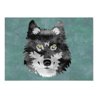 Watercolor Grey Wolf Card