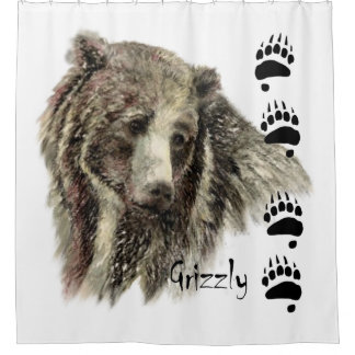 Watercolor Grizzly Bear Animal Art Shower Curtain